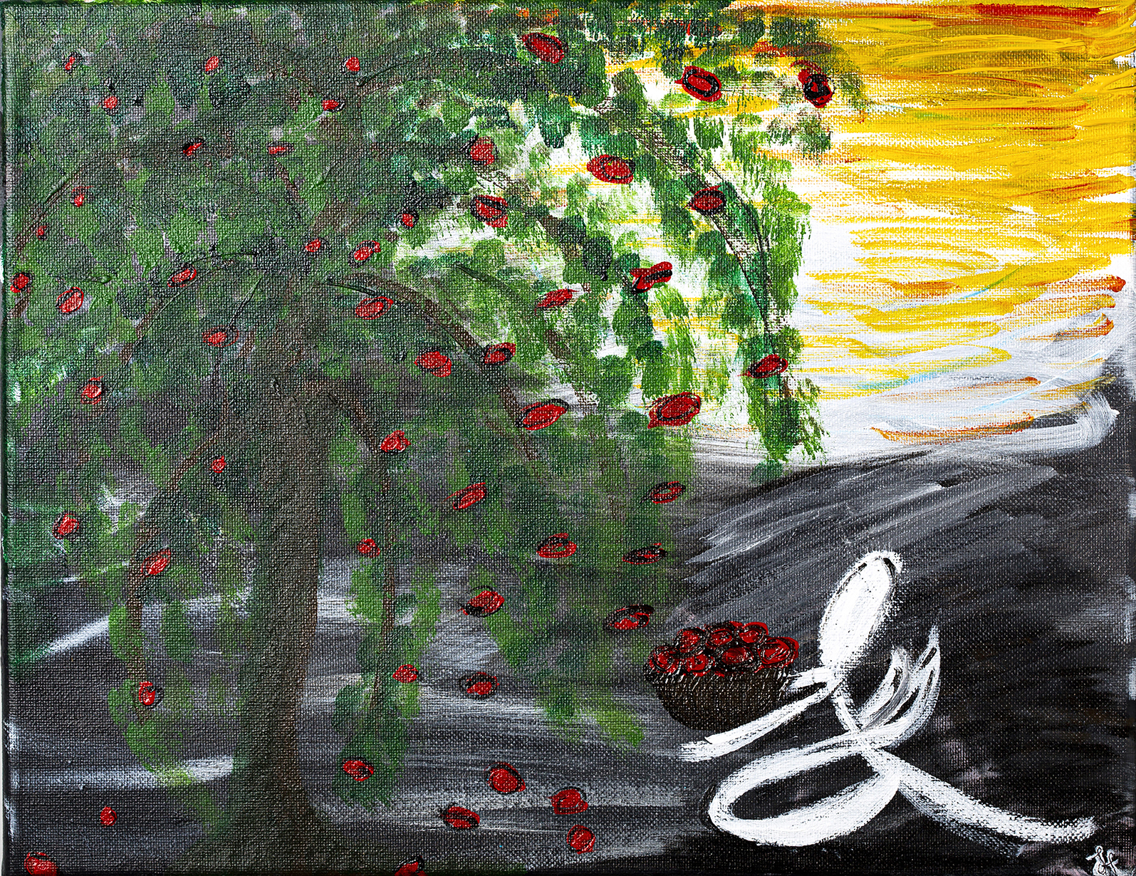 JACQUELINE HULSEY, THE ESSENTIAL TREE: In this piece I painted a tree which represents life, earing the Red cells mu mother so desperately needs. I drew her in an abstract angel form collecting any of the cells from this tree, to give her back life.