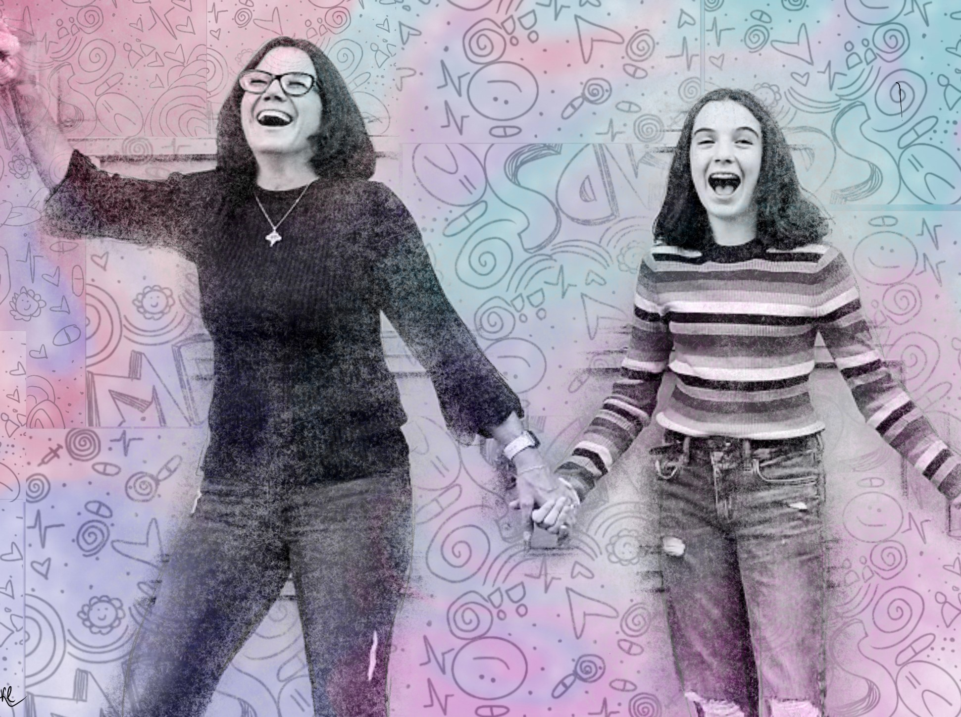 JULIA MCGUIRE, LOVE AND JOY: MOTHER AND DAUGHTER: This is my daughter and me finding joy in life — she is my heart and soul, and why I fight this disease. This is a photograph filtered with photo editing software.