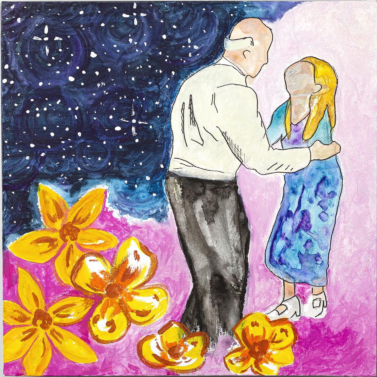 MICHELLE TERSOLO, NONO: This is a painting of a photo that was taken at my grandparents' 50th Wedding Anniversary. We lost my Grandfather to MDS in 2012, but I like to think he is still looking down from his place in the stars watching over me.