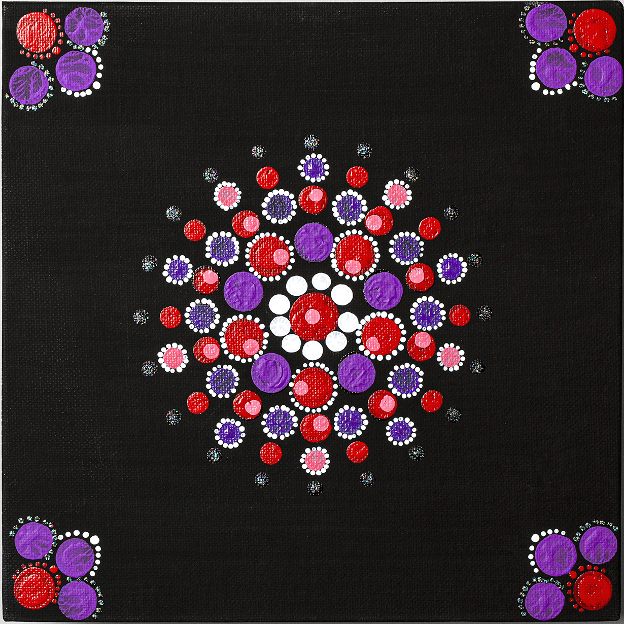 RIONDA RIDLEY, UNTITLED: Red blood cells in the mix of beautiful purple dots, purple represents my adopted mother who has MDS.
